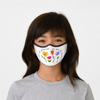 Cute Kids Floral Drawing We Are All Beautiful Premium Face Mask