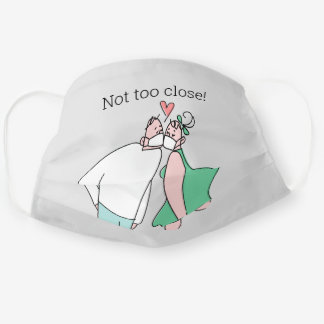 Cute kissing Couple Grey Green Not too Close Cloth Face Mask