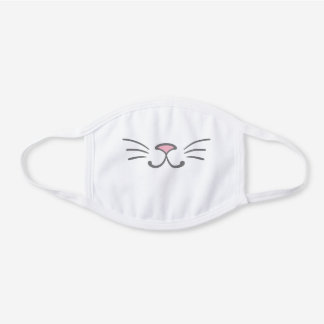 Cute Kitty Cat Nose Whiskers White Cotton Face Mask