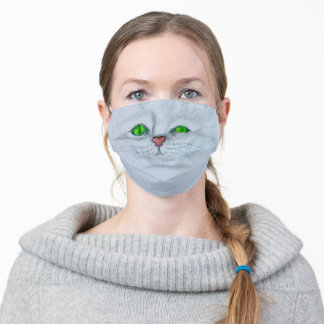 Cute Kitty Cat White Persian Green Eyes Adult Cloth Face Mask