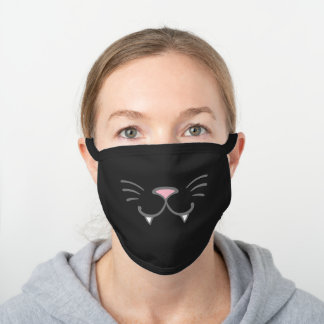 Cute Kitty with White Fangs Cat Nose Whiskers Black Cotton Face Mask