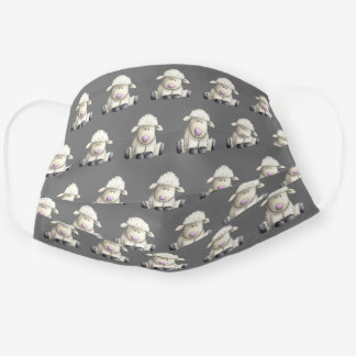 cute lambs on gray cloth face mask