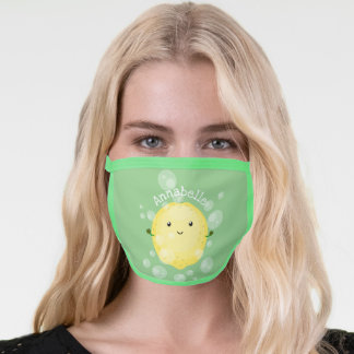 Cute lemon fruit cartoon bubbles illustration face mask