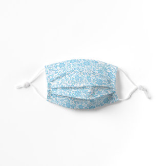 Cute Light Blue White Simple Classy Floral Paisley Kids' Cloth Face Mask