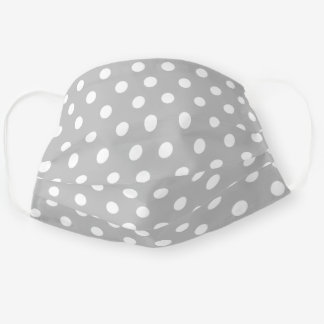 Cute Light Gray and White Polka Dot Pattern Adult Cloth Face Mask