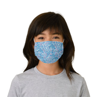 Cute Light Pink Pastel Blue White Floral Paisley Kids' Cloth Face Mask