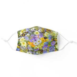 Cute Lilac Green Yellow White Flowers Be Safe Adult Cloth Face Mask