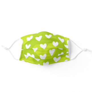 Cute Lime Green & White Heart Pattern Adult Cloth Face Mask