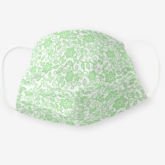 Cute Lime Green White Simple Class Floral Paisley Adult Cloth Face Mask
