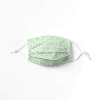 Cute Lime Green White Simple Class Floral Paisley Kids' Cloth Face Mask