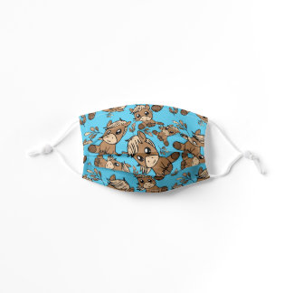 Cute Little Brown Pony Pattern on Blue Kids' Cloth Face Mask