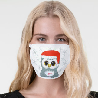 Cute little carol owl & snowflakes on white face mask