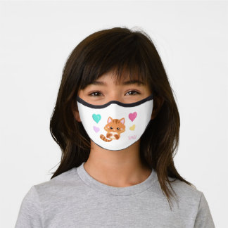 Cute Little Cat with Pastel Hearts Kids Premium Face Mask