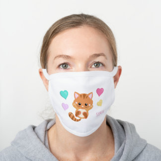 Cute Little Cat with Pastel Hearts White Cotton Face Mask