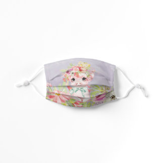 Cute Little Pig Flowers Watercolor Country Kids' Cloth Face Mask