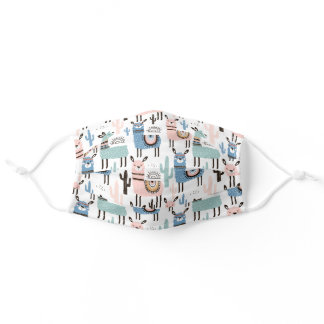 Cute Llama Pastel Pink Blue Pattern Boho Alpaca Adult Cloth Face Mask