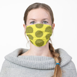 Cute Mandala Floral Pattern Trendy Yellow Adult Cloth Face Mask