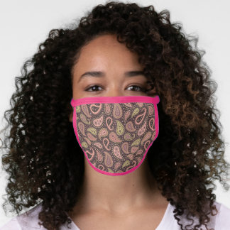 Cute Mauve Taupe Blush Pink Indian Floral Paisley Face Mask