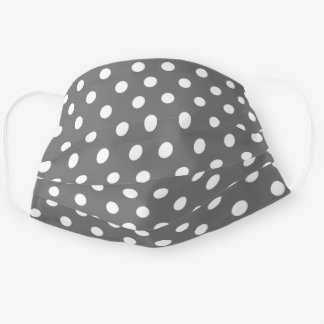 Cute Medium Gray and White Polka Dot Pattern Adult Cloth Face Mask