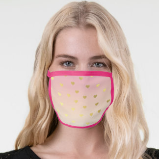 Cute modern chick ombre pink gold heart pattern face mask