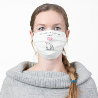 Cute Mom and Baby Elephant Baby Shower Pink Adult Cloth Face Mask