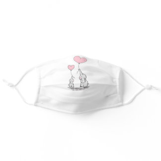 Cute Mom and Baby Elephant For her Mother's day Adult Cloth Face Mask