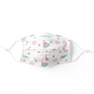 Cute Nautical Pink Sailboat Personalized Adult Cloth Face Mask