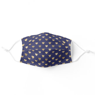 Cute Navy Blue And Gold Hearts Pattern Adult Cloth Face Mask