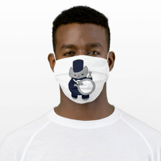 Cute Navy Blue White Marching Band Drum Cat Adult Cloth Face Mask