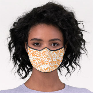 Cute Orange And White Simple Classy Floral Paisley Premium Face Mask