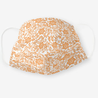 Cute Orange White Simple Classy Floral Paisley Cloth Face Mask