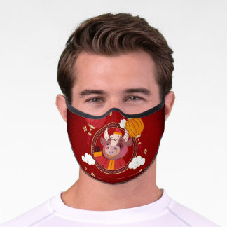 Cute ox Happy Chinese New Year Premium Face Mask