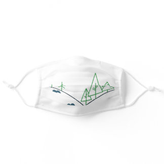Cute Pacific Northwest trees & mountain face mask