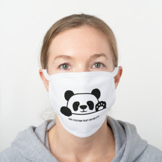 Cute Panda Bear Animal Add Custom Text White White Cotton Face Mask