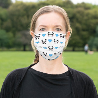 Cute Panda Bear Emoji Blue Heart Pattern White Cloth Face Mask