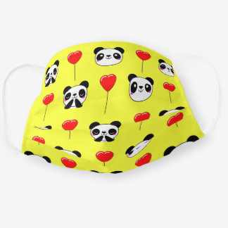 Cute Panda Bear Emoji Red Balloon Pattern Yellow Cloth Face Mask