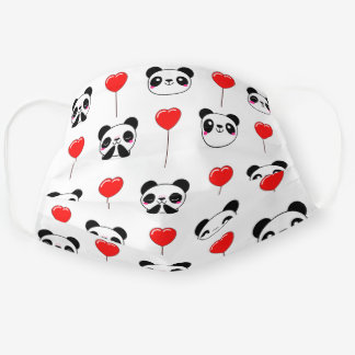 Cute Panda Bear Emoji Red Balloons Pattern White Cloth Face Mask