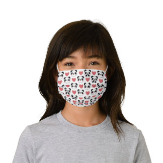 Cute Panda Emoji Happy Excited Shy Red Hearts Love Kids' Cloth Face Mask
