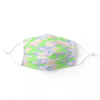 Cute Pastel Camouflage Abstract Lime Green Lilac Adult Cloth Face Mask
