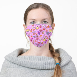 Cute pastel color pattern with Halloween sweets Adult Cloth Face Mask