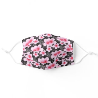 Cute Pastel Pink Flower Pattern On Black Adult Cloth Face Mask