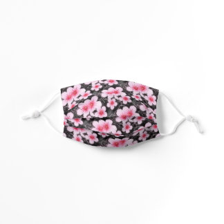 Cute Pastel Pink Flower Pattern On Black Kids' Cloth Face Mask