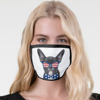 Cute Patriotic French Bull Dog Wearing Sunglasses Face Mask