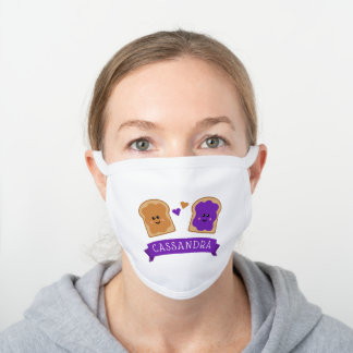 Cute Peanut Butter and Jelly Name White Cotton Face Mask