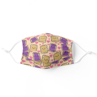 Cute Peanut Butter & Jelly Kawaii PBJ Kids Print Adult Cloth Face Mask