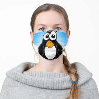 Cute Penguin in the Snow with Blue Sky Adult Cloth Face Mask