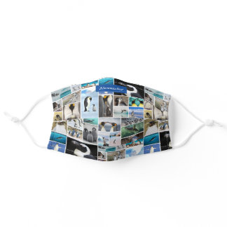 Cute Penguin Photo Collage Pattern with First Name Adult Cloth Face Mask