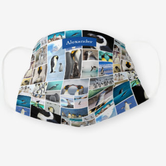 Cute Penguin Photo Collage Pattern with First Name Cloth Face Mask