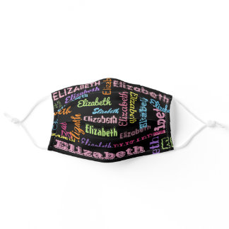Cute Personalized First Name Pattern on Black Adult Cloth Face Mask
