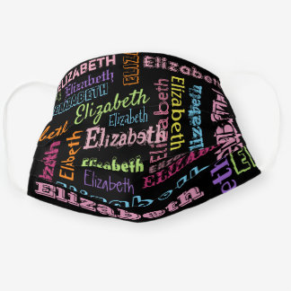 Cute Personalized First Name Pattern on Black Cloth Face Mask